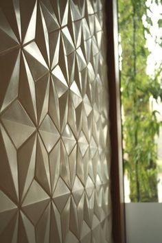 Delta Hex cement tile from Portland Cement Collections adds great dimension to the wall