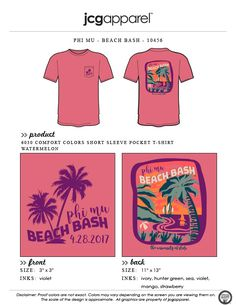 JCG Apparel : Custom Printed Apparel : Phi Mu Beach Bash T-Shirt #phimu #beach #bash #tropical #springbreak #summer