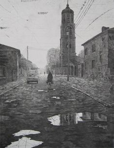 Mikael Kihlman, Old lady in Samokov, drypoint, 60x46,5 cm, 1998
