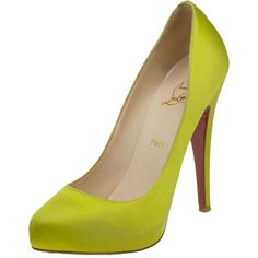 Christian Louboutin Yellow Satin Declic Pumps Size 37.5 ❤ liked on Polyvore featuring shoes, pumps, yellow satin shoes, satin shoes, satin pumps, yellow shoes and christian louboutin shoes