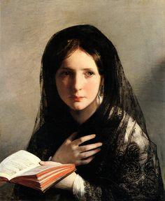Friedrich von Amerling, In Traumen Versunken, 1835 #painting #portrait