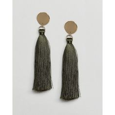 ASOS Disc and Tassel Drop Earrings (770 RUB) via Polyvore featuring jewelry, earrings, green, party earrings, tassel earrings, green tassel earrings, prom jewelry и tassel drop earrings
