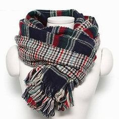 Yoins Navy Checked Print Double Sided Scarf featuring polyvore, women's fashion, accessories, scarves, black, houndstooth shawl, navy blue scarves, tartan shawl, plaid scarves and oblong scarves
