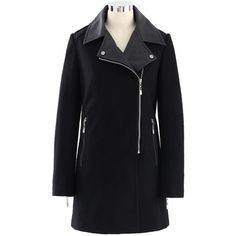 Chicwish Faux Leather Collar Felt Wool Coat in Black (26 KWD) ❤ liked on Polyvore featuring outerwear, coats, black, casacos, chicwish, leather-sleeve coats, asymmetrical zip wool coat, asymmetrical zip coat, wool coat and woolen coat