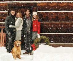 winter family photo with golden retriever, sled, wreath, snow Winter Family Photos, Winter Pictures, Holiday Photos, Christmas Pictures, Family Pictures, Cabin Christmas, Country Christmas, Family Christmas, Christmas Photography