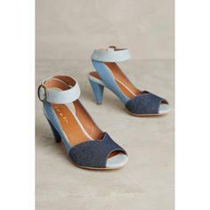 Lien.Do by Seychelles Reynosa Heels ($128) ❤ liked on Polyvore featuring shoes, denim, genuine leather shoes, vintage style shoes, leather shoes, leather footwear and real leather shoes
