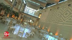 Custom Chevron Gobo Projections and Wireless Amber LED Up Lighting at the St Petersburg Museum of Art