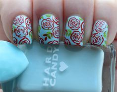 Vintage Roses Nail Art Manicure | Lindsey's Lacquer