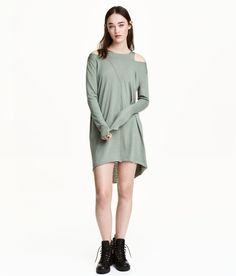 Check this out! Short, straight-cut dress in washed jersey. Long sleeves with cut-out sections at shoulders. Raw edges at cuffs and visible seam at front and back. Rounded, raw-edge hem. Slightly longer at back. Unlined. - Visit hm.com to see more.