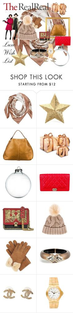 """Luxe Wish List with The RealReal: Contest Entry"" by vinogirl ❤ liked on Polyvore featuring Valentino, Eliot Raffít, Bottega Veneta, CO, Chanel, Roberto Cavalli, Loro Piana, UGG Australia, Alexis Bittar and Bulgari"