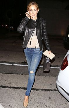 Kate Hudson wears a leather moto jacket, ripped jeans and nude peep-toe shoes while out in WeHo on Feb. 5