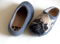 Hey, I found this really awesome Etsy listing at https://www.etsy.com/listing/209544642/dog-slippers-pug-art-handmade-felt