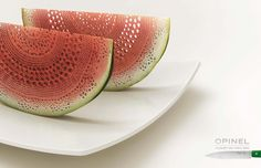 Creative Advertising for Opinel knives...so sharp, you can create lace from food