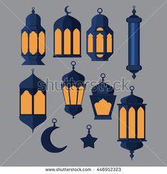 Ramadan Kareem - Islamic Holy Nights, Theme Design background, Ramadan lantern, saint fest, arabian and turk religion culture set vector Eid Crafts, Ramadan Crafts, Ramadan Decorations, Decoraciones Ramadan, Theme Design, Ramadan Poster, Ramadan Lantern, Ramadan Activities, Lantern Craft