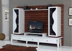 www. - Lara Lidya Mobilya - www. www. Tv Cabinet Design, Tv Wall Design, Tv Unit Design, Tv Showcase Design, Tv Wall Shelves, Wall Unit Designs, Living Room Wall Units, Indian House Plans, Indian Living Rooms