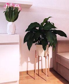 Pflanzenständer holz kupfer handmade deko von vielstil auf Etsy