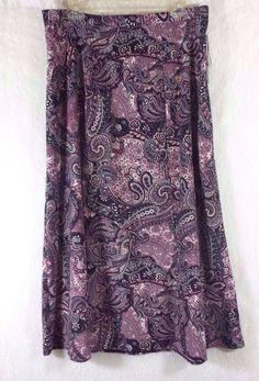 BOHO Paisley Pink Black Etc Button Zip Side A Line Skirt NWT Plus Size 1X  #Notations #ALine