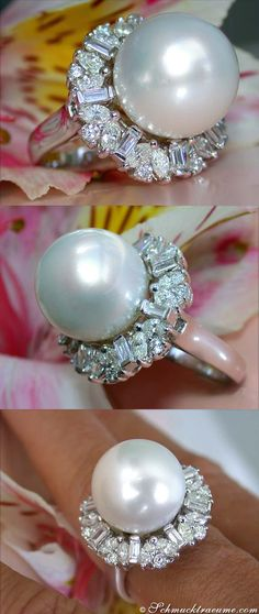 Amazing Southsea Pearl Diamond (2.18 ct. G-VS) Ring, WG18K - schmucktraeume.com Like: https://www.facebook.com/pages/Noble-Juwelen/150871984924926