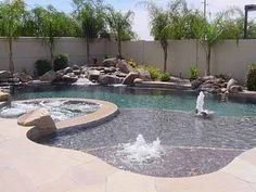 to Explore in Brazil Lagoon style pool with spa, multiple water features and huge baja shelf. Love…Lagoon style pool with spa, multiple water features and huge baja shelf. Natural Swimming Pools, Swimming Pools Backyard, Swimming Pool Designs, Pool Landscaping, Natural Pools, Indoor Pools, Pool Decks, Pools Inground, Landscaping Supplies