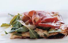 Pizza with Fontina, Prosciutto, and Arugula: 2000s Recipes + Menus : gourmet.com