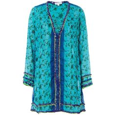 Poupette St Barth Women's Bibi Tunic Dress ($325) ❤ liked on Polyvore featuring dresses, long sleeve beach dress, long sleeve dresses, blue dress, beachy dresses and tunic style dresses