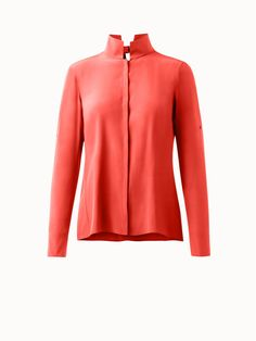 Akris® Official – Silk Crêpe Collared Tunic Blouse with Open Back Tunic Blouse, Silk Crepe, Collars, Stylists, Skirts, Sleeves, Pants, How To Wear, Jackets