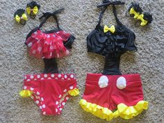Mickey or Minnie Inspired girls bathing suit by LindaSambroak Disney Bathing Suit, Girls Bathing Suits, Suit With Suspenders, Cute Summer Outfits, Cute Outfits, Reborn Toddler Girl, Boys Swim Trunks, Bath Girls, Overall Shorts