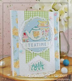 Tea Time - Dovecraft Sweet Moments | Craft Inspiration Craftwork Cards, Coffee Crafts, Love Stickers, Mothers Day Cards, Handmade Birthday Cards, Card Kit, Love Cards, Blank Cards, Tea Time