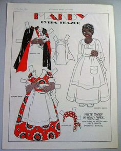 Mandy paper doll by Lydia Fraser, Canadian Home Journal, September 1932 Paper Dolls Clothing, Paper Clothes, Vintage Playmates, Paper Art, Paper Crafts, Paper Dolls Printable, African American Dolls, Vintage Paper Dolls, Vintage Sewing
