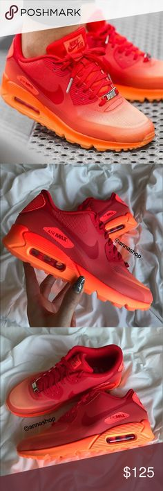 """NWT rare! Nike air max 90 Milano Brand new no box lid!rare! Price is firm! Aperitivo is a reddish-orange pre-dinner drink meant to open the palate, and it gives dinner guest a chance to socialize before a meal. The Women's Nike Air Max 90 """"Milan Aperitivo"""" fades from a red tongue, liner, and collar to an orange midsole and outsole. The metallic lace jewel reads """"MLN"""" to call out Milan, Italy, and the insole reads """"Treat Yourself – Milan."""" This silhouette sports a visible air unit and rubber…"""