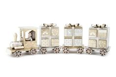 Traditional Wooden Train Advent Calendar Gold and Silver Festive Xmas Display