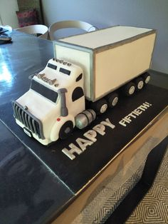 Truck Cake My first ever try at a cake. Truck Cake My first ever try at a cake. Semi Truck Cakes, Planes Cake, Biscuit, Cake Stencil, Cake Decorating Videos, Themed Birthday Cakes, Fondant Tutorial, Novelty Cakes, Cakes For Boys