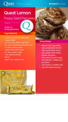 Craving pancakes for breakfast? Check out the #Quest version of Lemon Poppy Seed #CheatClean pancakes created by Robyn P.