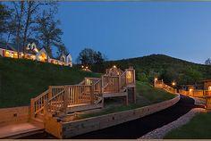 Looking up at the main inn from the cabins Iris Inn Bed & Breakfast, Waynesboro, VA - http://www.bnbfinder.com/Virginia/Waynesboro/Bed-and-Breakfast/Listing/20063/Iris_Inn_Bed_and_Breakfast  #BnB #Virginia