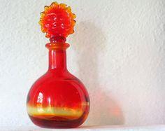 marbled glass perfume bottles | Vintage Red Orange Glass Perfume Bo ttle, Ruby Amberina Crystal Glass ...
