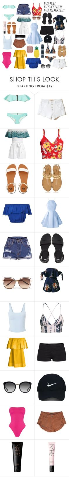 """""""Summer Sunshine"""" by amalilly619 ❤ liked on Polyvore featuring Lisa Marie Fernandez, Hollister Co., Mara Hoffman, H&M, 2b bebe, L'Estrosa, Miss Selfridge, ASOS, Chloé and WithChic"""