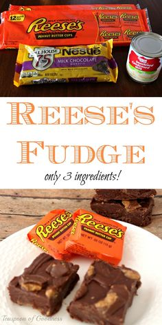 3 Ingredient Peanut Butter Cup No Bake Fudge Bars Recipe An easy no bake fudge bars recipe is one of my favorites. Add in Reese's peanut butter cups and you have a dream treat. - Teaspoon of Goodness Köstliche Desserts, Delicious Desserts, Dessert Recipes, Fluff Desserts, Sweet Desserts, Healthy Desserts, Healthy Recipes, Peanut Butter Cups, Peanut Butter Bars Candy