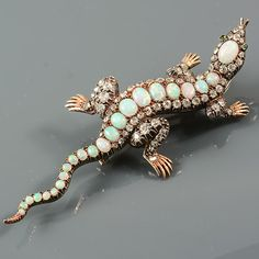 Victorian gold on silver very important opal and diamond Salamander brooch Victorian Gold, Victorian Jewelry, Antique Jewelry, Vintage Jewelry, Opal Jewelry, Fine Jewelry, Salamanders, Unusual Jewelry, Animal Jewelry