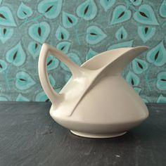Vintage USA Pottery Pitcher - Art Deco - Warm White Ceramic Pitcher - Mid Century - Geometric Lines 65.oo etsy Kolorize