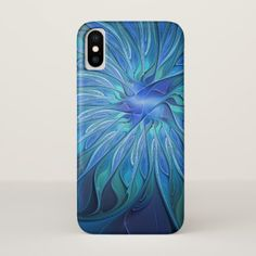 Blue Flower Fantasy Pattern Abstract Fractal Art iPhone X Case - flowers floral flower design unique style