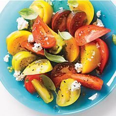 Tomato Salad with Goat Cheese and Basil | CookingLight.com #vegetables #dairy #myplate