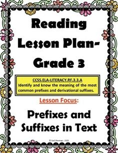 This lesson plan contains the following: detailed lesson instructions, sample anchor chart, prefix and suffix flashcards, practice passages, answer key, graphic organizer.