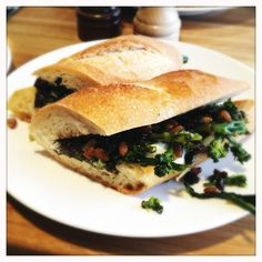 The Larder at Burton Way - Los Angeles, CA, United States. Ficelle sandwich with broccoli, burrata, pine nuts, currants