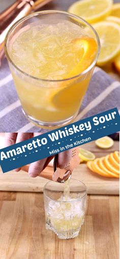 Amaretto Whiskey Sour is a combination of the classic whiskey sour and the amaretto sour. A tasty cocktail that is sure to be a crowd favorite. Cocktails For Parties, Easy Cocktails, Classic Cocktails, Drinks Alcohol Recipes, Yummy Drinks, Delicious Desserts, Sour Cocktail, Cocktail Desserts, Easy Mixed Drinks