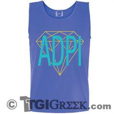 TGI Greek - Alpha Delta Pi - Comfort Colors Tank - Greek T-shirts #TGIGreek #AlphaDeltaPi