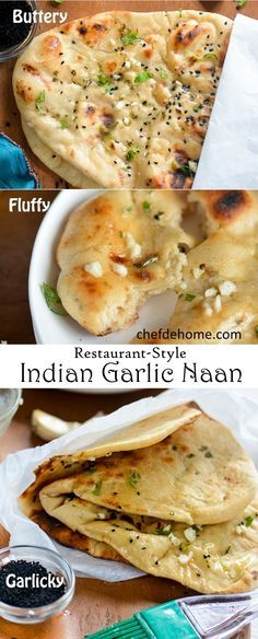 "Indian Garlic Naan Bread for Easy Indian Dinner at Home | chefdehome.com ""Repinned by Keva xo""."