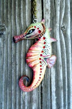 Ooak seahorse pendant Seahorse necklace Seahorse Jewelry Aquatic Polymer clay pendant Clay seahorse Hand painted pendant Sea creature by WhimsyCalling on Etsy