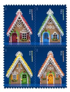 Postage Stamps Amazon USPS Forever Holiday Gingerbread Houses Booklet Of 20