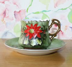 Vintage Lefton Poinsettia, Gold Gilded, Cup and Saucer, 4392