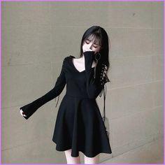 Dark V-neck dress - unzzy Grunge Outfits, Grunge Dress, Cute Skirt Outfits, Cute Skirts, Cool Outfits, Grunge Style, Soft Grunge, Tokyo Street Fashion, Cute Fashion